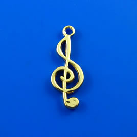 Charm, gold-finished, 10x22mm treble clef. Pkg of 5.