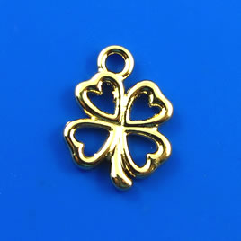 Charm, gold-finished, 13mm shamrock/ 4-leaf clover. Pkg of 9.