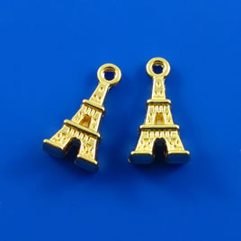 Charm, gold-finished, 8x12mm Eiffel Tower. Pkg of 5.