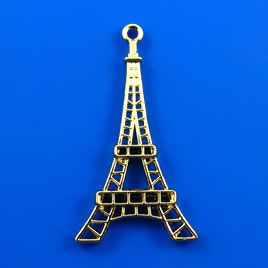 Pendant/charm, gold-finished, 24x40mm Eiffel Tower. Pkg of 3.