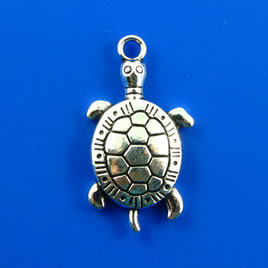 Charm, silver-finished, 17x27mm turtle. Pkg of 4. - Click Image to Close