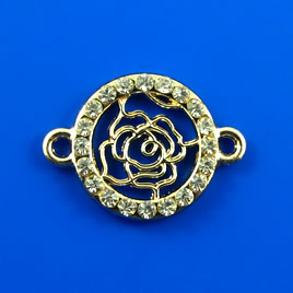 Link, gold-finished, 16mm rose with crystals. Sold individually.