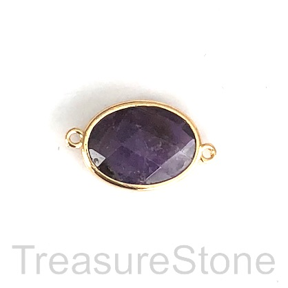 Connector, pendant, charm, amethyst, gold frame, 15x20mm, Each.