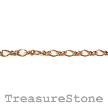 Chain, brass, copper-finished, 2.5x3.5mm. Sold per meter.