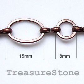 Chain,brass, copper-finished, 15x9/8mm. Sold per pkg of 1 meter