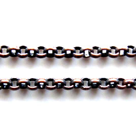 Chain, brass, copper-plated, 2mm rolo. Sold per pkg of 1 meter.