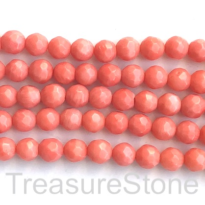 Bead, coral (dyed), orange, 8mm faceted round. 15.5-inch, 50pcs
