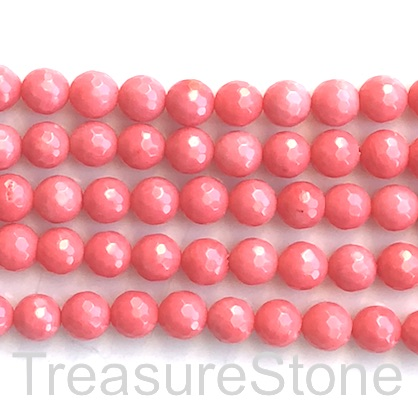 Bead, coral (dyed), pink, 8mm faceted round. 15.5-inch, 48pcs