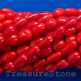 Bead, coral(dyed), red, about 5x6mm oval. 16-inch strand.