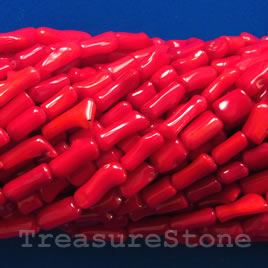 Bead, coral(dyed), red, 4x7mm irregular. 16-inch strand.