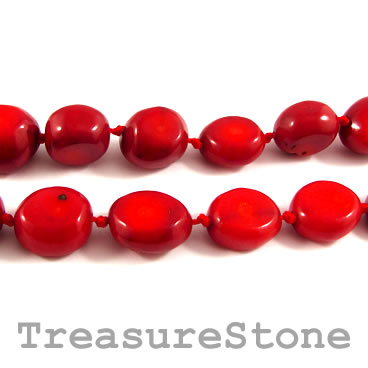 Bead, coral (dyed), red, about 13x16mm nugget. Pkg of 23 pcs
