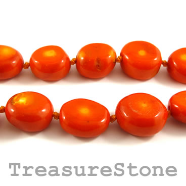 Bead, coral (dyed), orange, about 18x22mm nugget. Pkg of 17 pcs