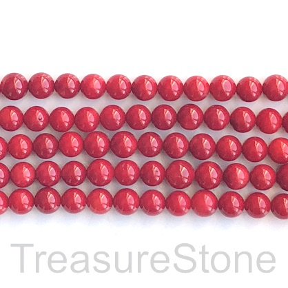 Bead, coral (dyed), red, 8mm round. 16-inch, 54pcs
