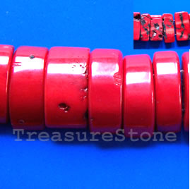 Bead, coral (dyed), red, double-drilled, about 12x25mm. 16-inch.