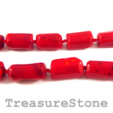 Bead, coral (dyed), red, about 14x20mm tube. Pkg of 17pcs.