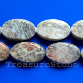 Bead, coral fossil, 16x25x10mm twisted oval. 16-inch strand.