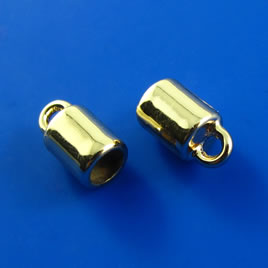 Cord end, 3-4mm cord connector, gold-colored, 5x7mm. Pkg of 9