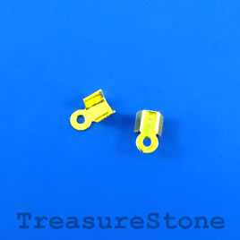 Cord end, fold-over, gold-plated,2x3mm with 2mm inside.Pkg of 70