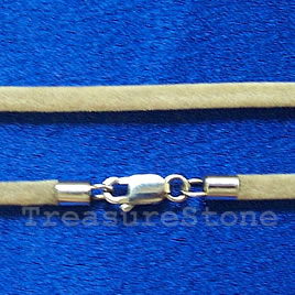 Cord, light brown w sterling silver clasp, connector, 18 inch