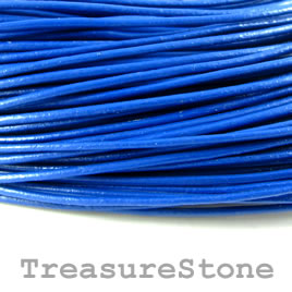 Cord, leather, blue 1.5mm. Sold per 2-meter section