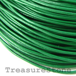 Cord, leather, green 1.5mm. Sold per 2-meter section