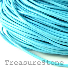 Cord, leather, light blue 1.5mm. Sold per 2-meter section