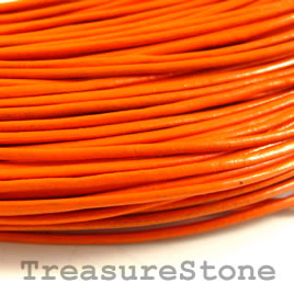 Cord, leather, orange, 1.5mm. Sold per 2-meter section