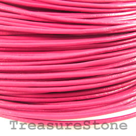 Cord, leather, pink 2mm. Sold per 2-meter section