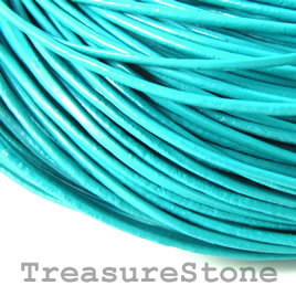 Cord, leather, turquoise 1.5mm. Sold per 2-meter section