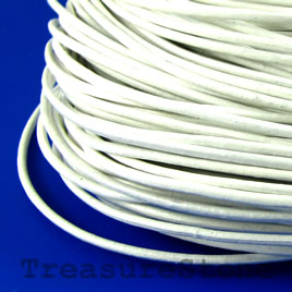 Cord, leather, white 1.5mm. Sold per 2-meter section