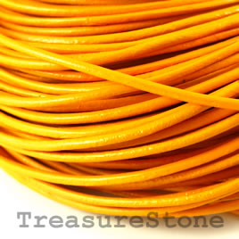 Cord, leather, yellow 1.5mm. Sold per 2-meter section