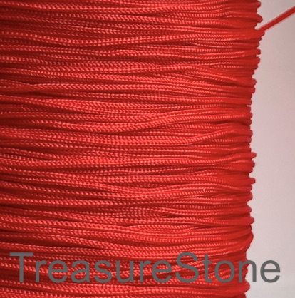 Cord, nylon, red, 0.7mm, MALA making. Sold per pkg of 24 feet