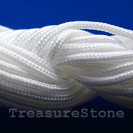 Cord, nylon, white, 1.5mm. Sold per pkg of 18 feet