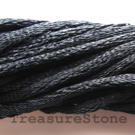 Cord, satin, black, 2mm. Pkg of(4)1-meter strands