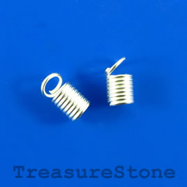 Cord end, spring coil, silver colored, 3mm cord. Pkg of 20.