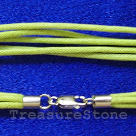 Cord, cotton w sterling silver slasp, connector, peridot,18 inch