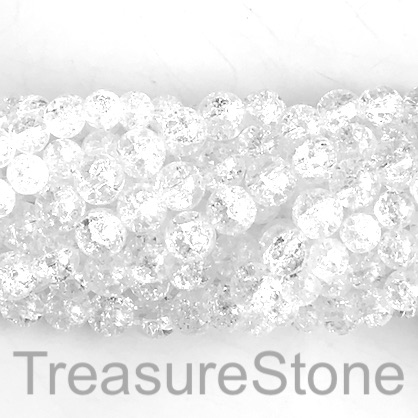 "Bead, cracked crystal glass, 6mm round. 15"", 64pcs"