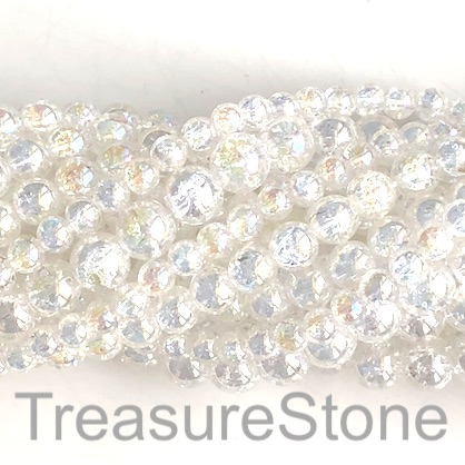 "Bead, cracked crystal glass, AB, 6mm round. 15.5"", 62pcs"