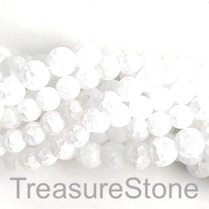 "Bead, cracked crystal glass, matte, frosted, 6mm round. 15"", 66p"
