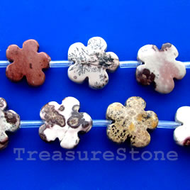 Bead, crazy horse jasper, 14mm flat flower. Sold per pkg of 20.