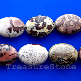 Bead, Coffee Bean Jasper, 13x18mm puffed oval. 16-inch strand.