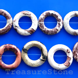 Bead frame, Coffee Bean Jasper, 30mm circle. 15.5-inch strand.