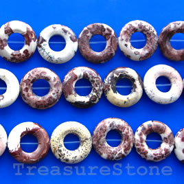 Bead frame, Coffee Bean Jasper, 20mm round donut. 15.5-inch.