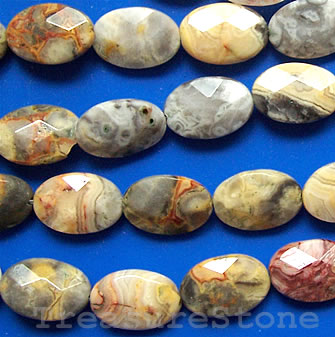 Bead, crazy lace agate, 10x15mm faceted oval. 16-inch strand