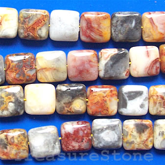 Bead, crazy lace agate, 12mm flat square. 16-inch strand
