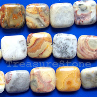 Bead, crazy Lace Agate Flat Square, 16mm, 16-inch strand