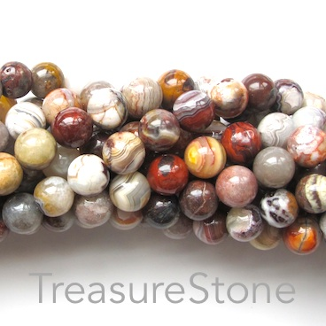 Bead, mexican crazy lace agate, 8mm round. 15.5 inch.