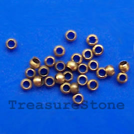 Crimp, bronze-plated brass, 2x1.5mm round. Sold per pkg of 100.