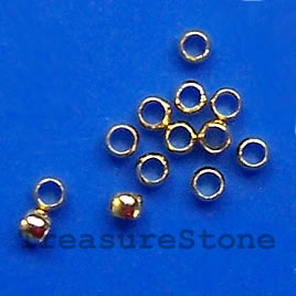 Crimp, gold-plated brass, 2x1.5mm round. Sold per pkg of 100.