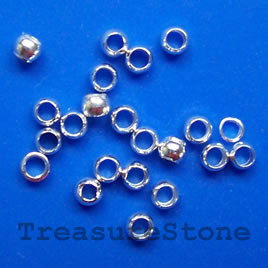 Crimp, silver-plated brass, 3x2mm round. Sold per pkg of 100.